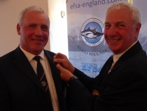 Gary Geoghegan recieving silver pin